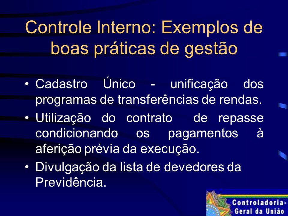 Controle Interno: Exemplos de boas práticas de gestão Cadastro Único - unificação dos programas de transferências de rendas.