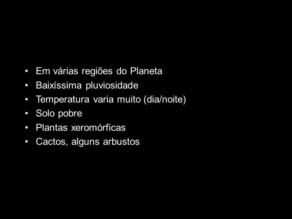 Em várias regiões do Planeta Baixíssima pluviosidade Temperatura varia muito (dia/noite) Solo pobre Plantas xeromórficas Cactos, alguns arbustos