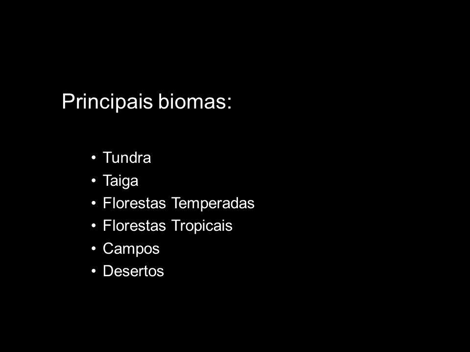 Principais biomas: Tundra Taiga Florestas Temperadas Florestas Tropicais Campos Desertos