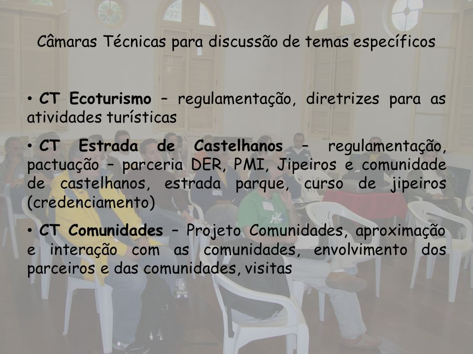 Câmaras Técnicas para discussão de temas específicos CT Ecoturismo – regulamentação, diretrizes para as atividades turísticas CT Estrada de Castelhano