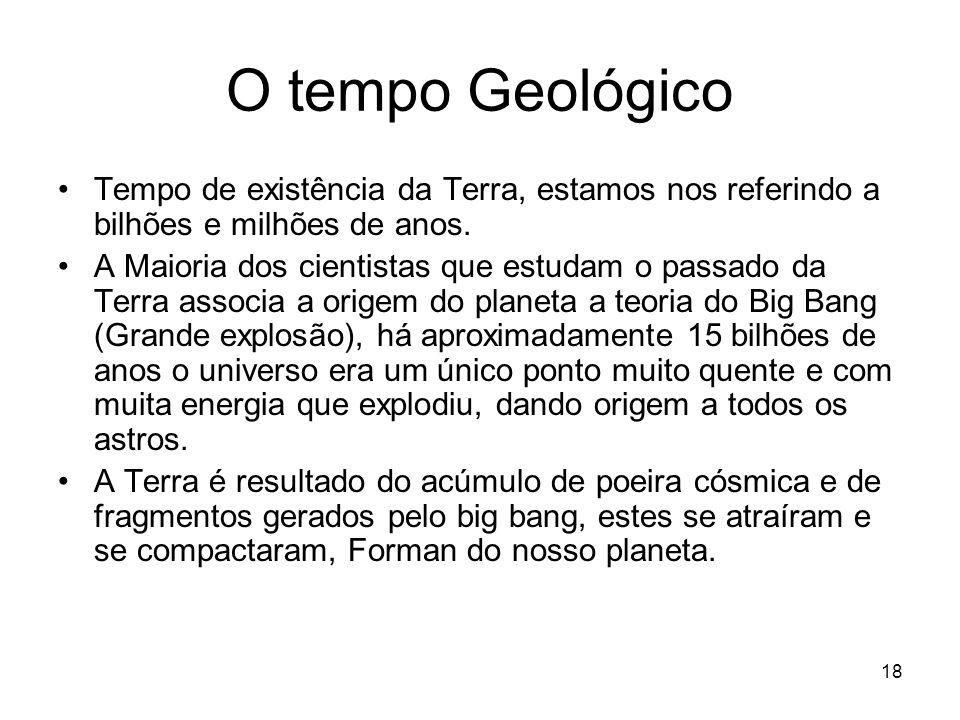 O tempo Geológico Tempo de existência da Terra, estamos nos referindo a bilhões e milhões de anos. A Maioria dos cientistas que estudam o passado da T