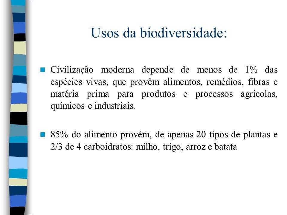 Megadiversidade: - Florestas tropicais cobrem 7% da superfície do planeta, mas contêm mais de 50% das espécies.