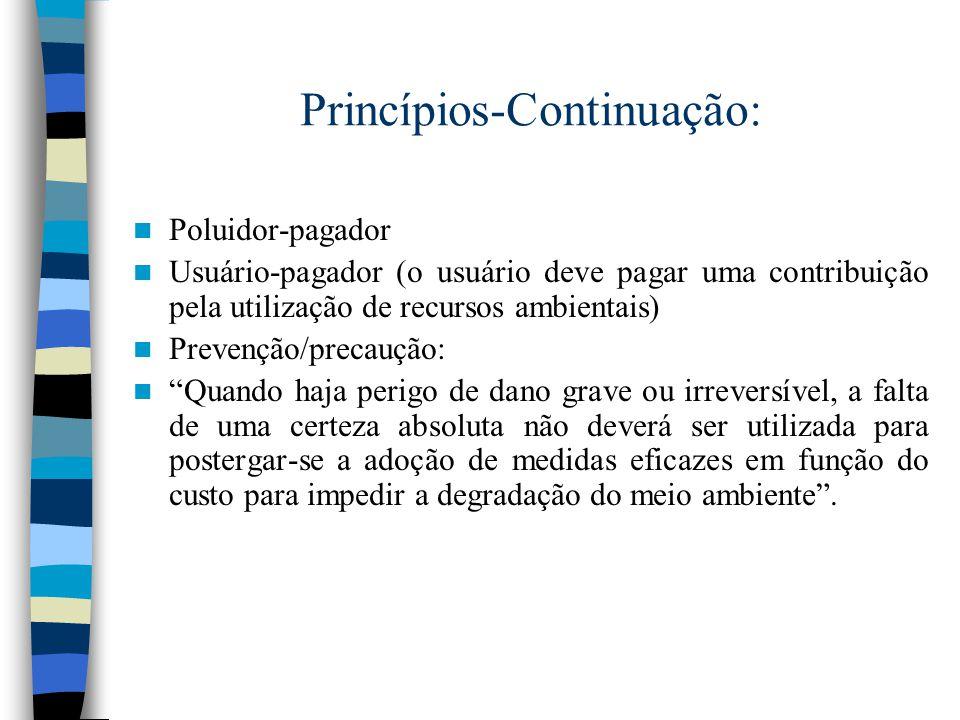 Princípios- Continuação: Educação ambiental e conscientização pública para a preservação do meio ambiente (formal e não-formal).
