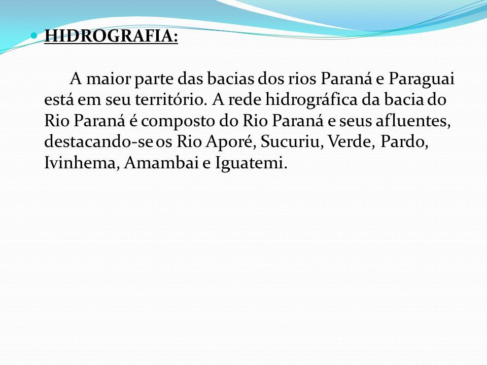 HIDROGRAFIA: A maior parte das bacias dos rios Paraná e Paraguai está em seu território.