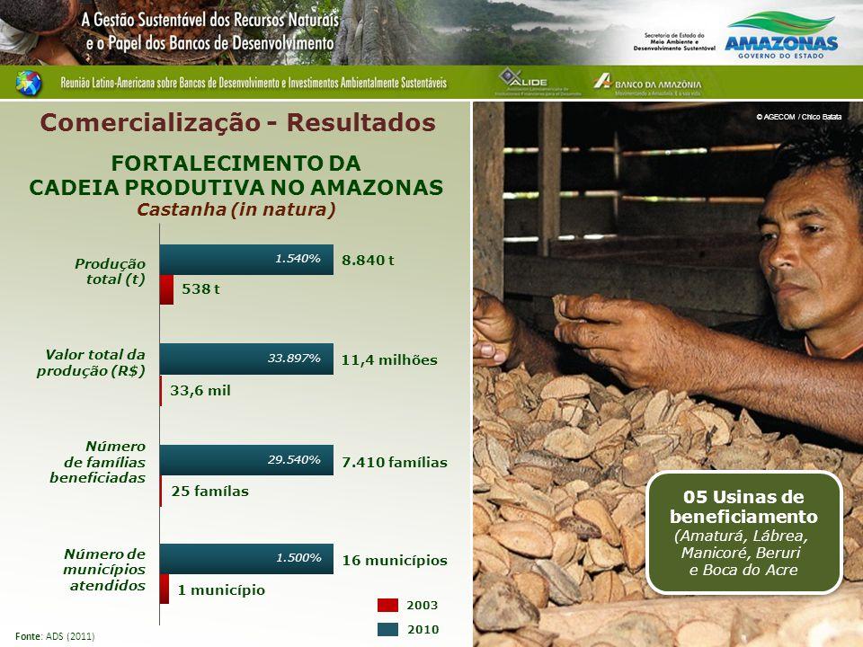 Produção total (t) Valor total da produção (R$) Número de famílias beneficiadas Número de municípios atendidos 7.410 famílias 25 famílas 8.840 t 538 t 11,4 milhões 33,6 mil 16 municípios 1 município FORTALECIMENTO DA CADEIA PRODUTIVA NO AMAZONAS Castanha (in natura) 2010 2003 Fonte: ADS (2011) © AGECOM / Chico Batata Comercialização - Resultados 05 Usinas de beneficiamento (Amaturá, Lábrea, Manicoré, Beruri e Boca do Acre 1.540% 33.897% 29.540% 1.500%