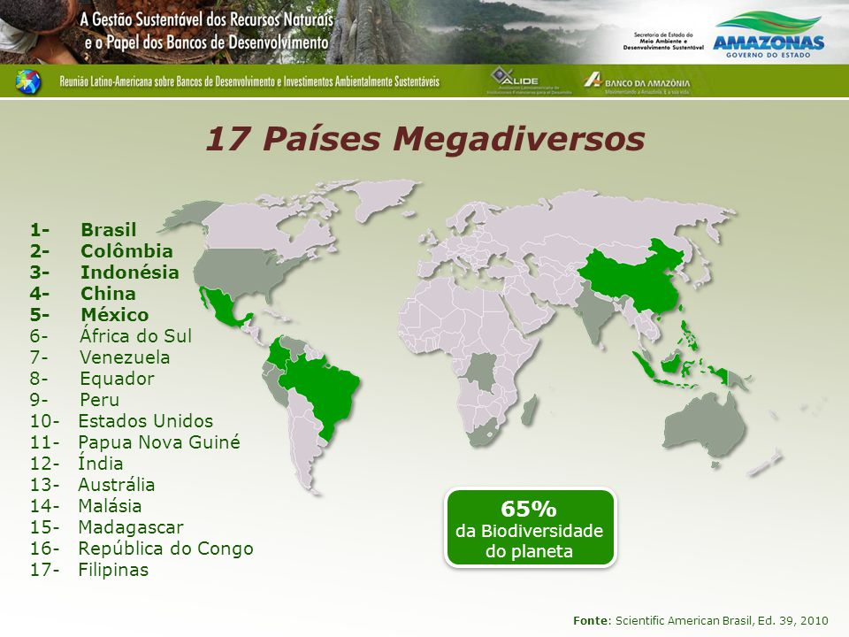 Megadiversidade PAÍSES ÁREA (km²) COBERTURA FLORESTAL (2005) PLANTAS MAMÍFERO S ANFÍBIOSAVESRÉPTEISTOTAIS BRASIL8.514.87648%56.000524 (131)517 (294) 1.622 (191) 468 (172) 3.131 (788) Colômbia1.141.74846%51.000456 (28)583 (367) 1.815 (142) 520.