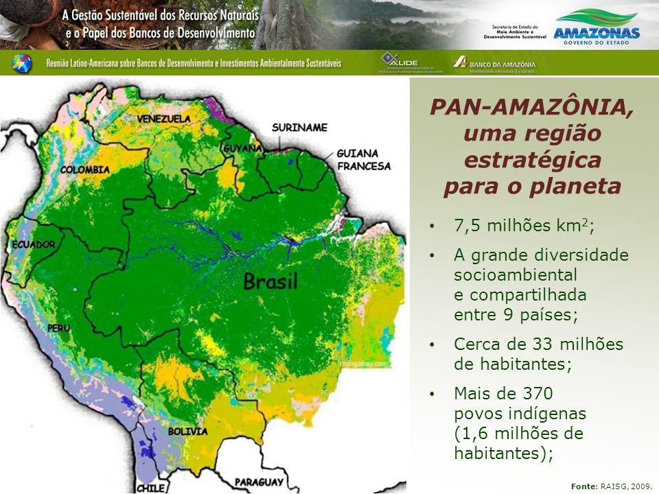 PAN-AMAZÔNIA, uma região estratégica para o planeta 7,5 milhões km 2 ; A grande diversidade socioambiental e compartilhada entre 9 países; Cerca de 33 milhões de habitantes; Mais de 370 povos indígenas (1,6 milhões de habitantes); Fonte: RAISG, 2009.