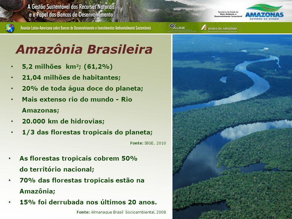 5,2 milhões km 2 ; (61,2%) 21,04 milhões de habitantes; 20% de toda água doce do planeta; Mais extenso rio do mundo - Rio Amazonas; 20.000 km de hidro