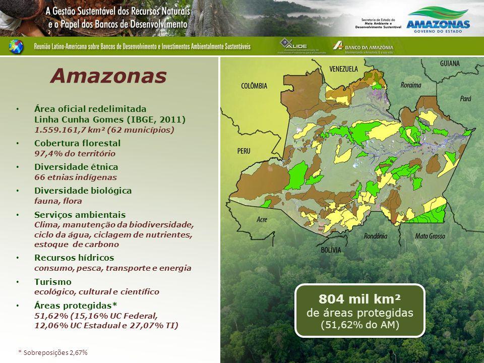 Área oficial redelimitada Linha Cunha Gomes (IBGE, 2011) 1.559.161,7 km² (62 municípios) Cobertura florestal 97,4% do território Diversidade étnica 66 etnias indígenas Diversidade biológica fauna, flora Serviços ambientais Clima, manutenção da biodiversidade, ciclo da água, ciclagem de nutrientes, estoque de carbono Recursos hídricos consumo, pesca, transporte e energia Turismo ecológico, cultural e científico Áreas protegidas* 51,62% (15,16% UC Federal, 12,06% UC Estadual e 27,07% TI) 804 mil km² de áreas protegidas (51,62% do AM) Amazonas * Sobreposições 2,67%