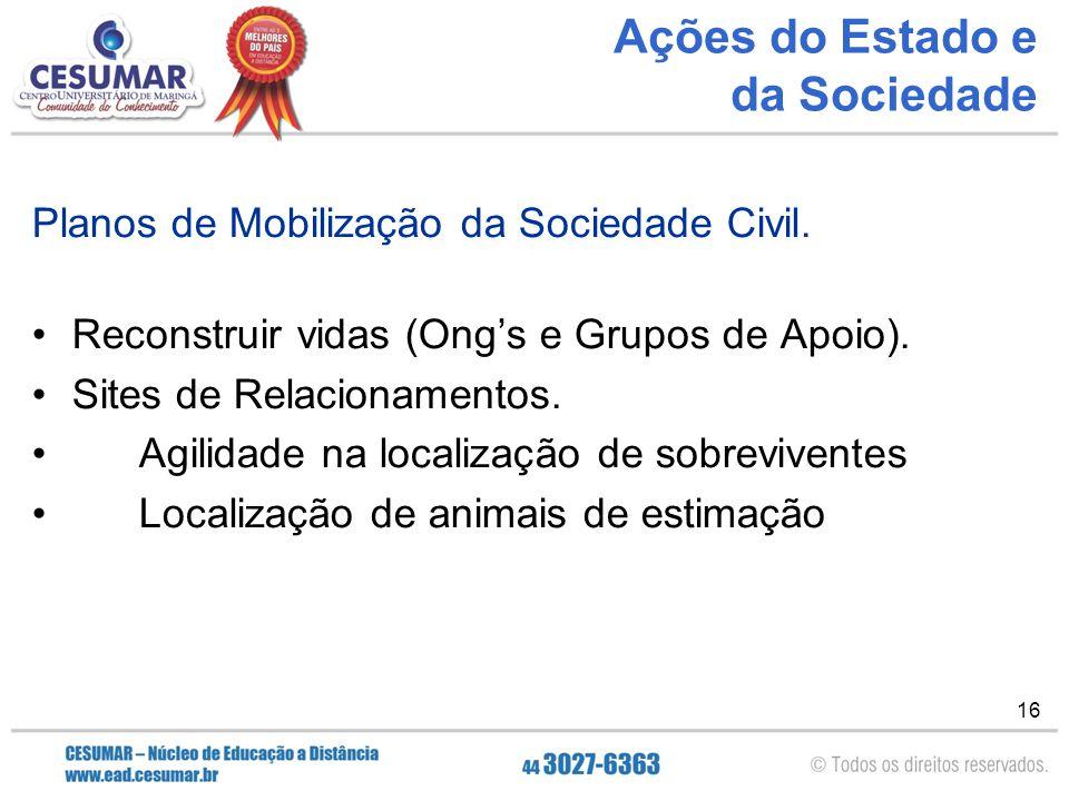 16 Ações do Estado e da Sociedade Planos de Mobilização da Sociedade Civil. Reconstruir vidas (Ong's e Grupos de Apoio). Sites de Relacionamentos. Agi