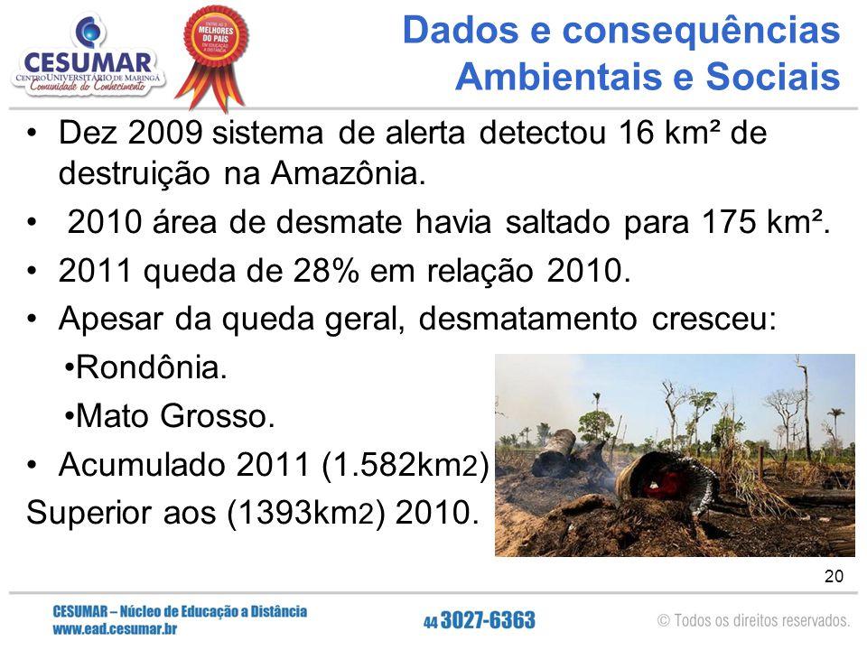 20 Dados e consequências Ambientais e Sociais Dez 2009 sistema de alerta detectou 16 km² de destruição na Amazônia. 2010 área de desmate havia saltado