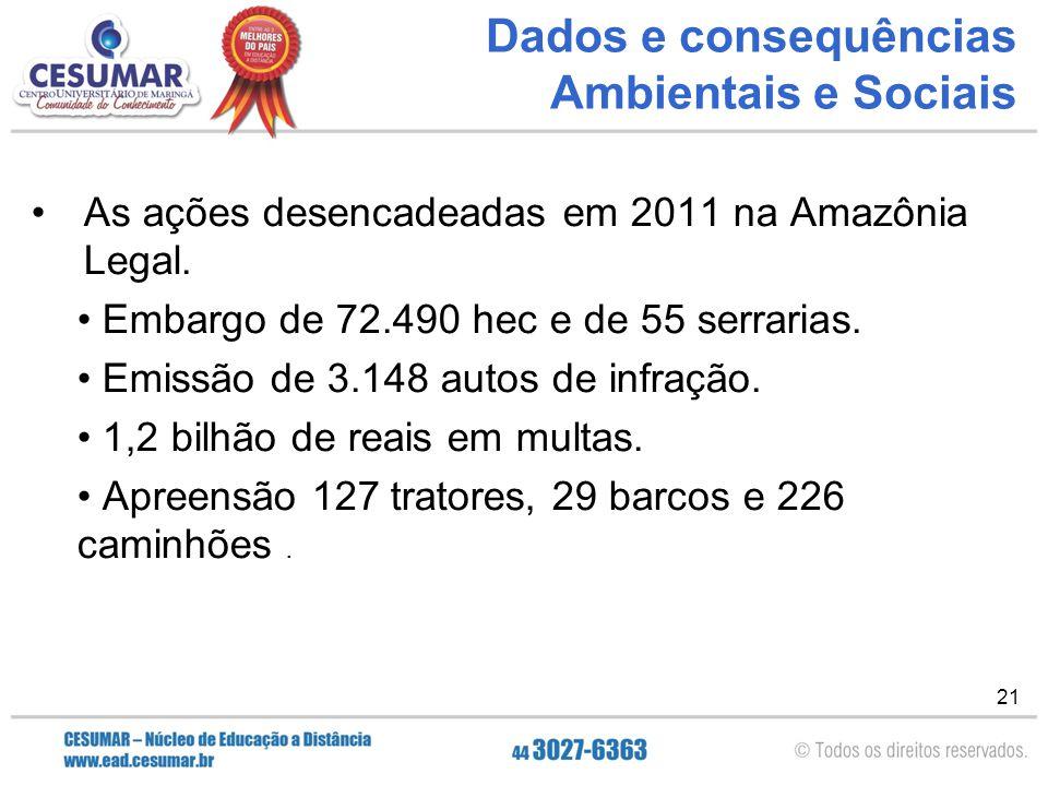21 Dados e consequências Ambientais e Sociais As ações desencadeadas em 2011 na Amazônia Legal. Embargo de 72.490 hec e de 55 serrarias. Emissão de 3.