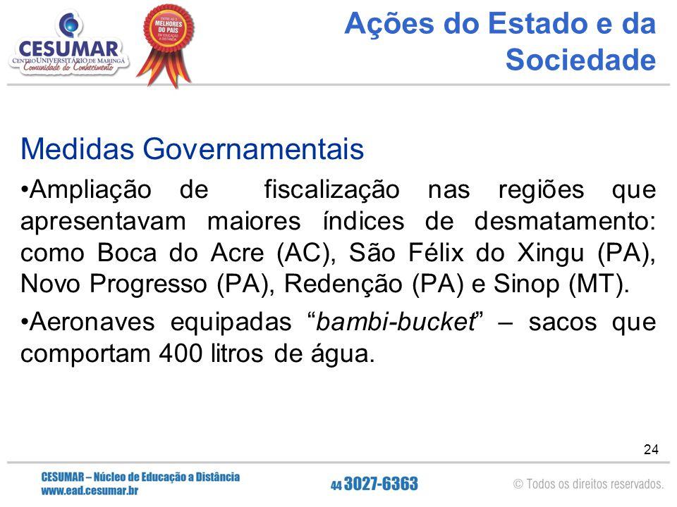 24 Ações do Estado e da Sociedade Medidas Governamentais Ampliação de fiscalização nas regiões que apresentavam maiores índices de desmatamento: como