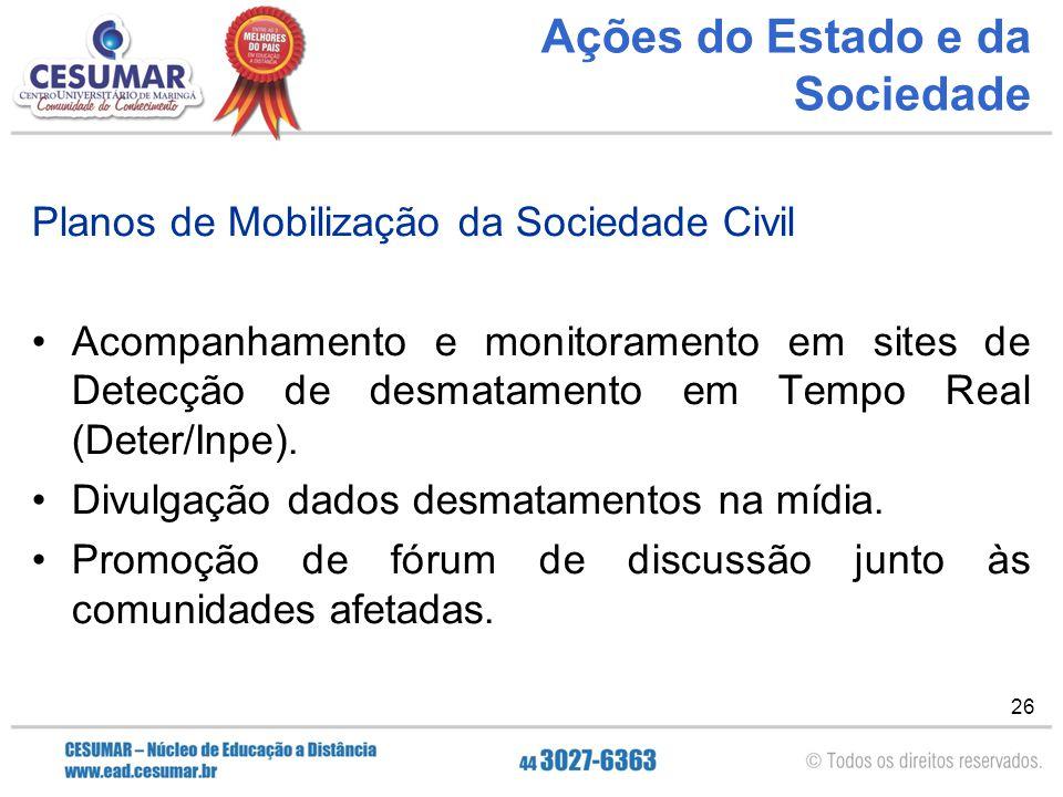 26 Ações do Estado e da Sociedade Planos de Mobilização da Sociedade Civil Acompanhamento e monitoramento em sites de Detecção de desmatamento em Temp