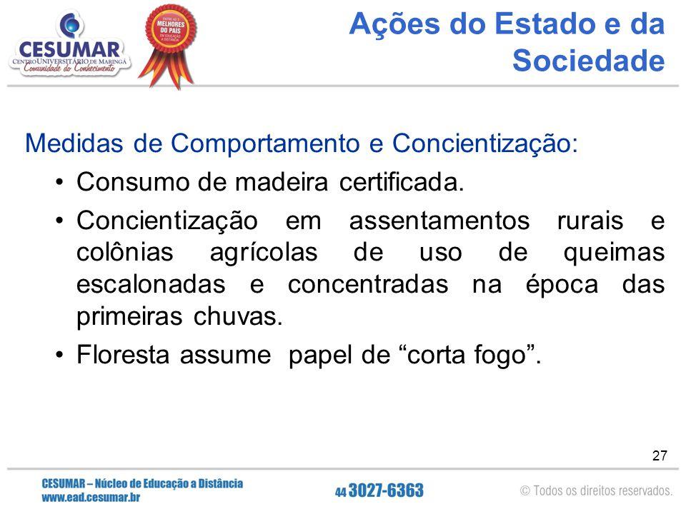 27 Ações do Estado e da Sociedade Medidas de Comportamento e Concientização: Consumo de madeira certificada. Concientização em assentamentos rurais e