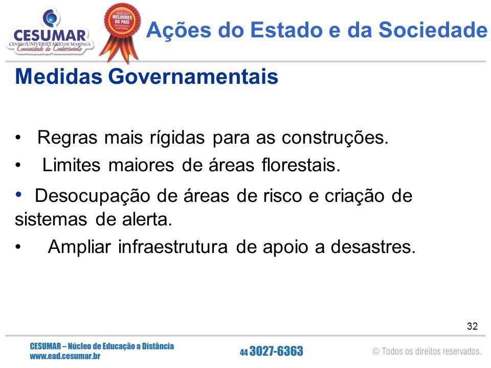 32 Ações do Estado e da Sociedade Medidas Governamentais Regras mais rígidas para as construções. Limites maiores de áreas florestais. Desocupação de