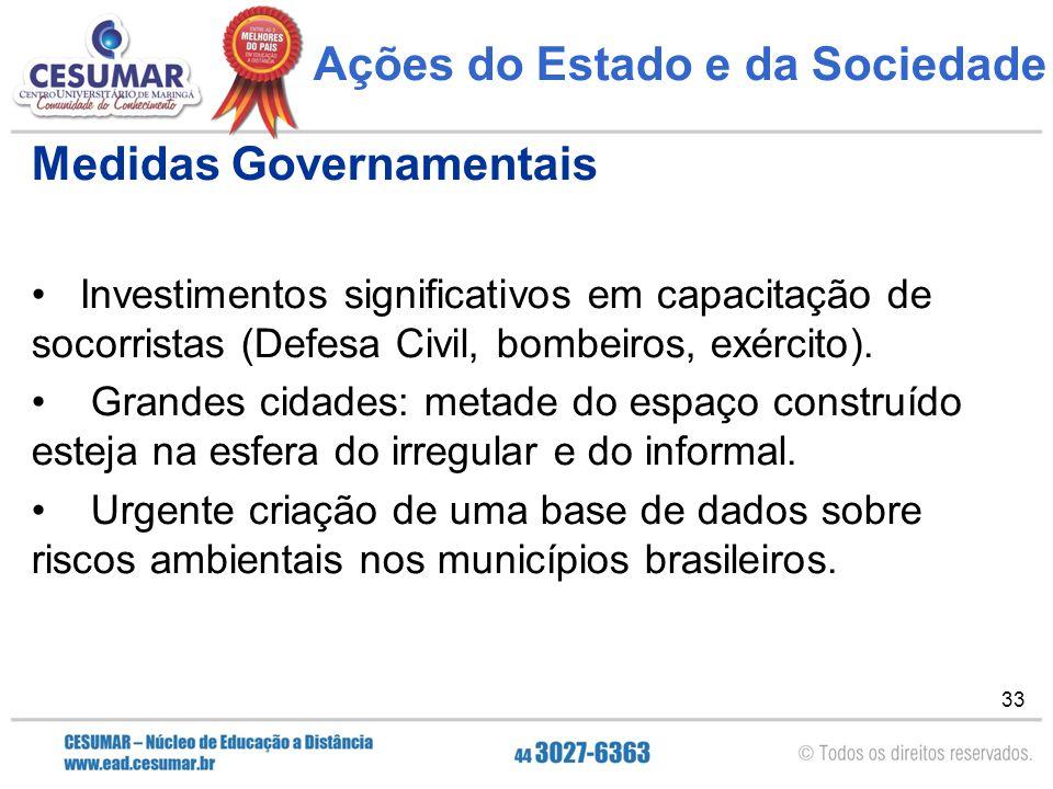 33 Ações do Estado e da Sociedade Medidas Governamentais Investimentos significativos em capacitação de socorristas (Defesa Civil, bombeiros, exército