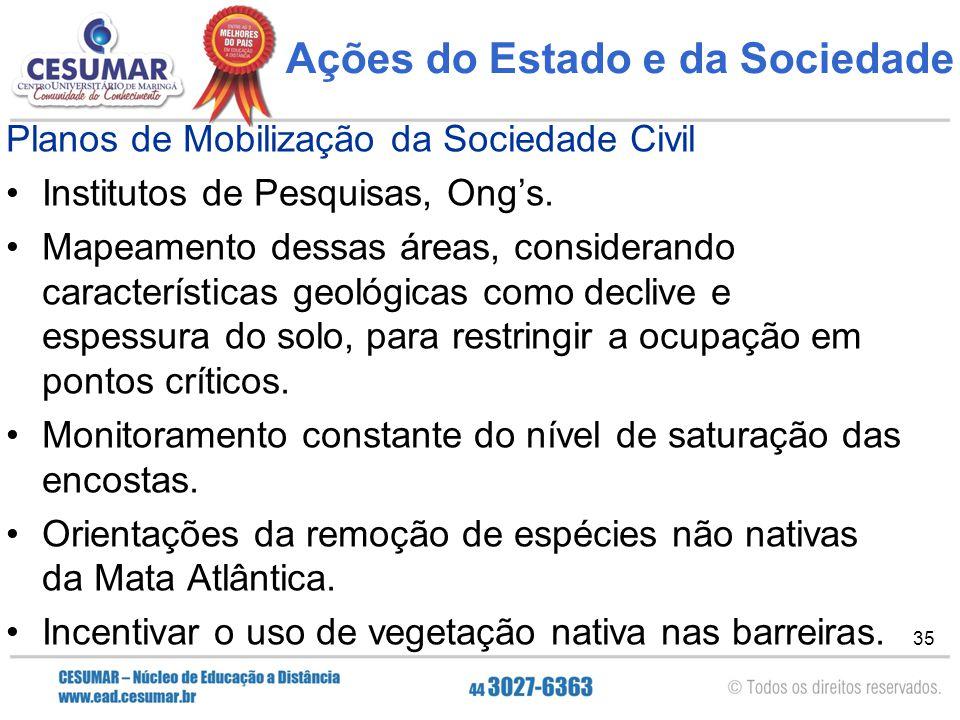 35 Ações do Estado e da Sociedade Planos de Mobilização da Sociedade Civil Institutos de Pesquisas, Ong's. Mapeamento dessas áreas, considerando carac