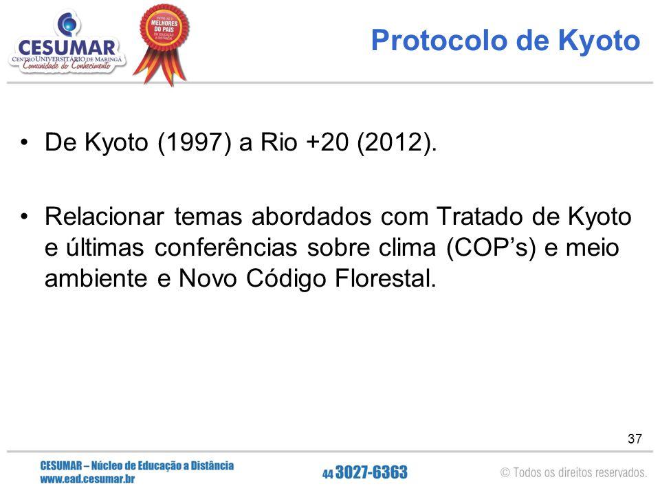 37 Protocolo de Kyoto De Kyoto (1997) a Rio +20 (2012). Relacionar temas abordados com Tratado de Kyoto e últimas conferências sobre clima (COP's) e m