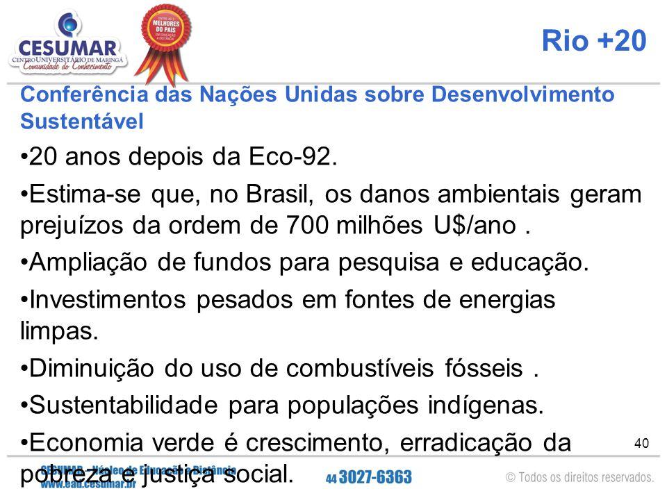 40 Rio +20 Conferência das Nações Unidas sobre Desenvolvimento Sustentável 20 anos depois da Eco-92. Estima-se que, no Brasil, os danos ambientais ger