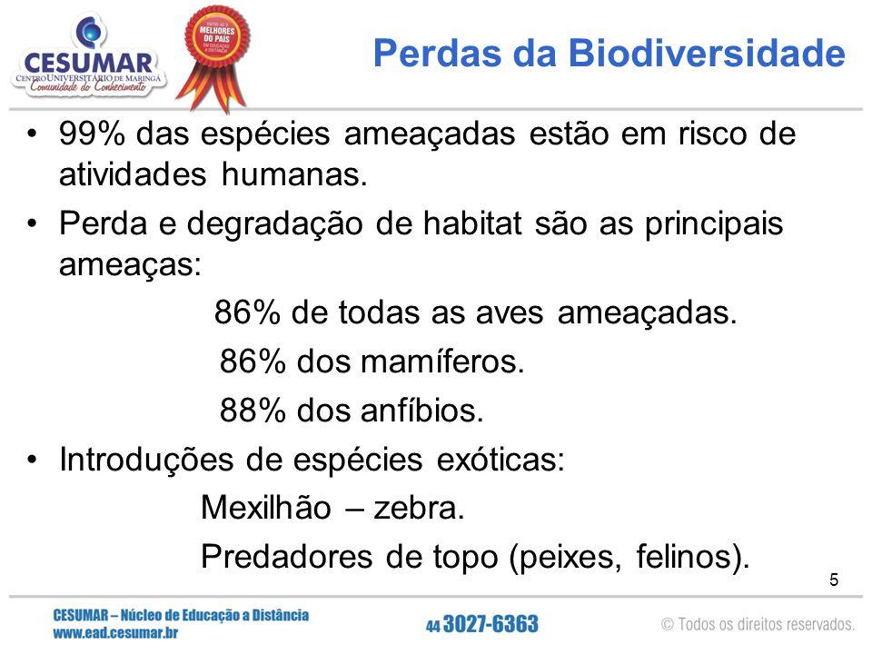 5 Perdas da Biodiversidade 99% das espécies ameaçadas estão em risco de atividades humanas. Perda e degradação de habitat são as principais ameaças: 8