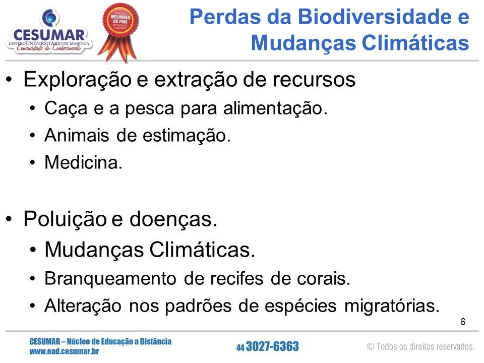 6 Perdas da Biodiversidade e Mudanças Climáticas Exploração e extração de recursos Caça e a pesca para alimentação. Animais de estimação. Medicina. Po