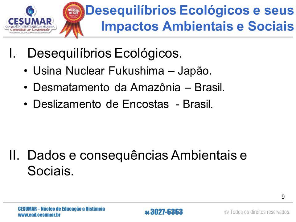 9 Desequilíbrios Ecológicos e seus Impactos Ambientais e Sociais I.Desequilíbrios Ecológicos. Usina Nuclear Fukushima – Japão. Desmatamento da Amazôni