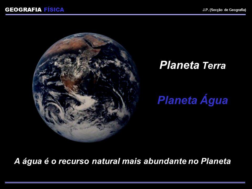 A água é o recurso natural mais abundante no Planeta Planeta Terra Planeta Água GEOGRAFIA FÍSICA J.P. (Secção de Geografia)