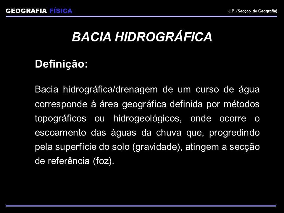 GEOGRAFIA FÍSICA J.P. (Secção de Geografia) BACIA HIDROGRÁFICA Definição: Bacia hidrográfica/drenagem de um curso de água corresponde à área geográfic
