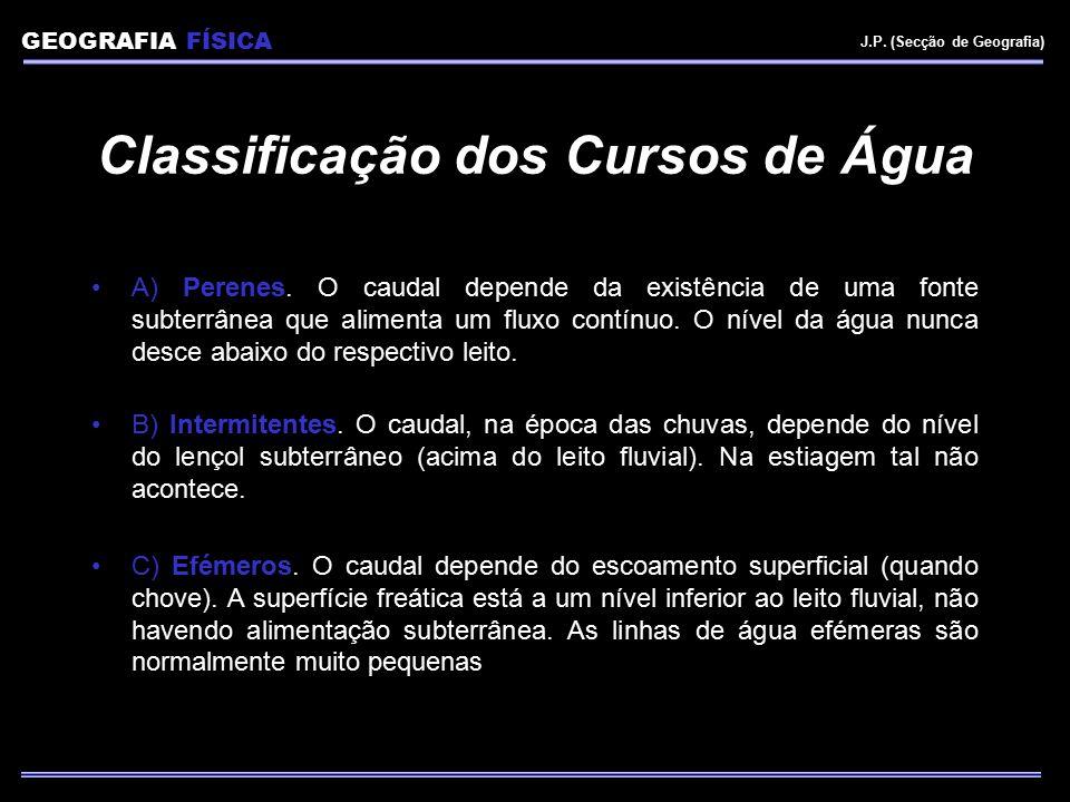 GEOGRAFIA FÍSICA J.P. (Secção de Geografia) Classificação dos Cursos de Água A) Perenes. O caudal depende da existência de uma fonte subterrânea que a