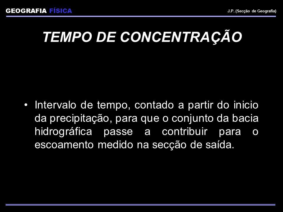 GEOGRAFIA FÍSICA J.P. (Secção de Geografia) TEMPO DE CONCENTRAÇÃO Intervalo de tempo, contado a partir do inicio da precipitação, para que o conjunto