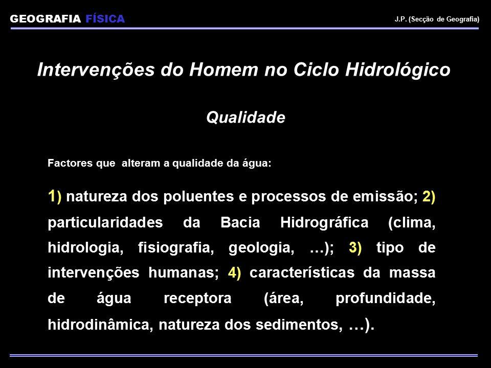 Intervenções do Homem no Ciclo Hidrológico Qualidade Factores que alteram a qualidade da água: 1 ) natureza dos poluentes e processos de emissão; 2) p