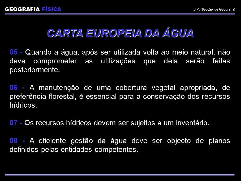 Balanço Hídrico (Açores) Er EVAPOTRANSPIRAÇÃO POTENCIAL (1090 mm) PRECIPITAÇÃO (1930 mm) ESCOAMENTO SUPERFICIAL (680 mm) RECARGA (150 mm) RESERVA AQUÍFERA Plano Regional da Água, 2001 GEOGRAFIA FÍSICA J.P.