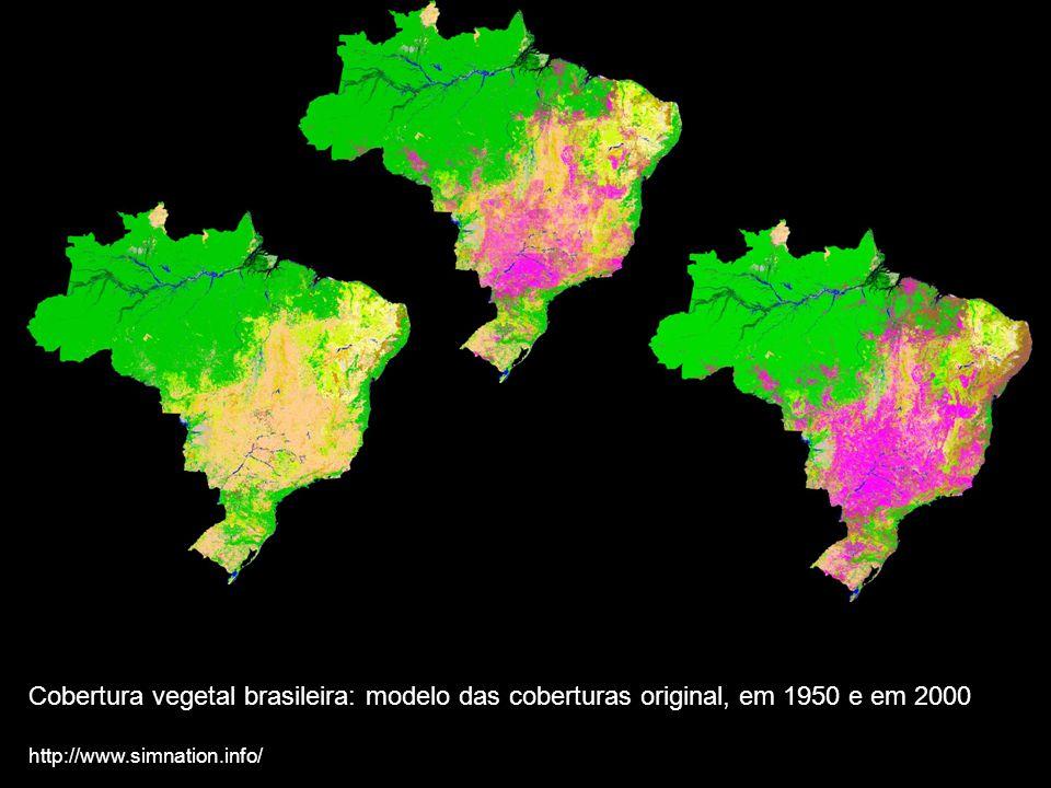 Cobertura vegetal brasileira: modelo das coberturas original, em 1950 e em 2000 http://www.simnation.info/
