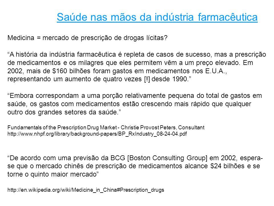 Medicina = mercado de prescrição de drogas lícitas.
