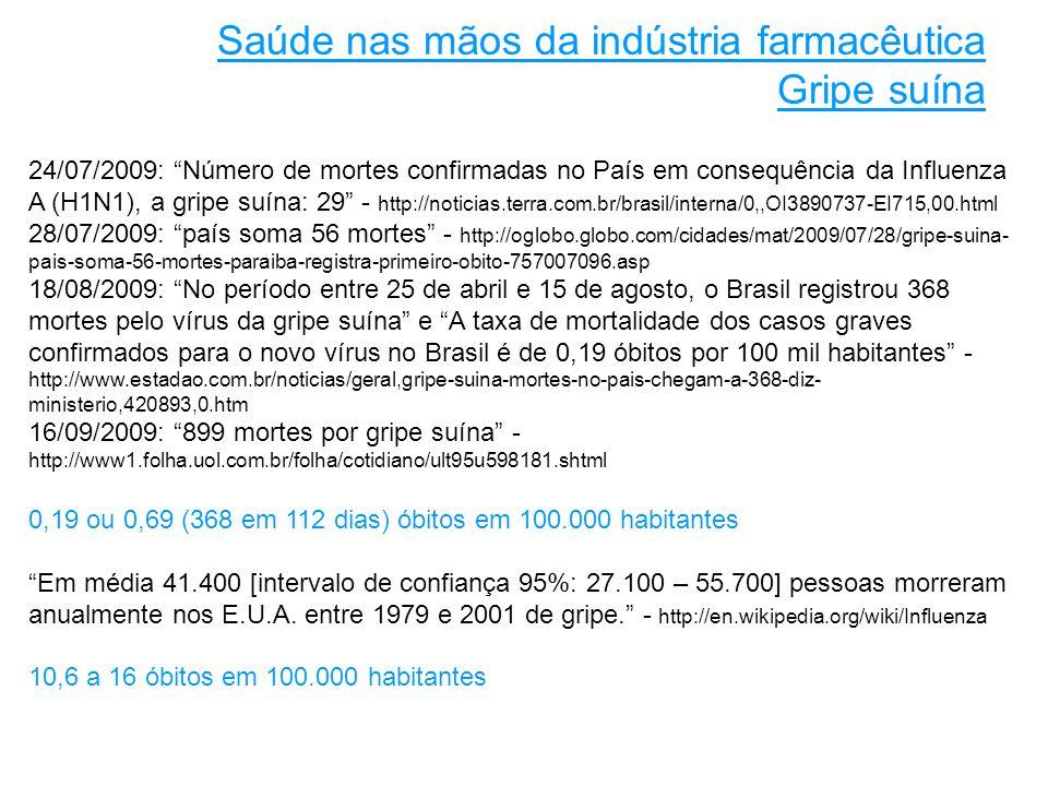 24/07/2009: Número de mortes confirmadas no País em consequência da Influenza A (H1N1), a gripe suína: 29 - http://noticias.terra.com.br/brasil/interna/0,,OI3890737-EI715,00.html 28/07/2009: país soma 56 mortes - http://oglobo.globo.com/cidades/mat/2009/07/28/gripe-suina- pais-soma-56-mortes-paraiba-registra-primeiro-obito-757007096.asp 18/08/2009: No período entre 25 de abril e 15 de agosto, o Brasil registrou 368 mortes pelo vírus da gripe suína e A taxa de mortalidade dos casos graves confirmados para o novo vírus no Brasil é de 0,19 óbitos por 100 mil habitantes - http://www.estadao.com.br/noticias/geral,gripe-suina-mortes-no-pais-chegam-a-368-diz- ministerio,420893,0.htm 16/09/2009: 899 mortes por gripe suína - http://www1.folha.uol.com.br/folha/cotidiano/ult95u598181.shtml 0,19 ou 0,69 (368 em 112 dias) óbitos em 100.000 habitantes Em média 41.400 [intervalo de confiança 95%: 27.100 – 55.700] pessoas morreram anualmente nos E.U.A.