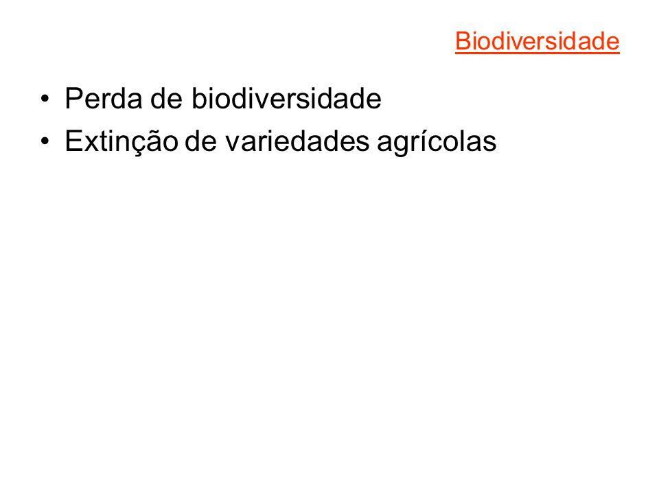 Biodiversidade Perda de biodiversidade Extinção de variedades agrícolas