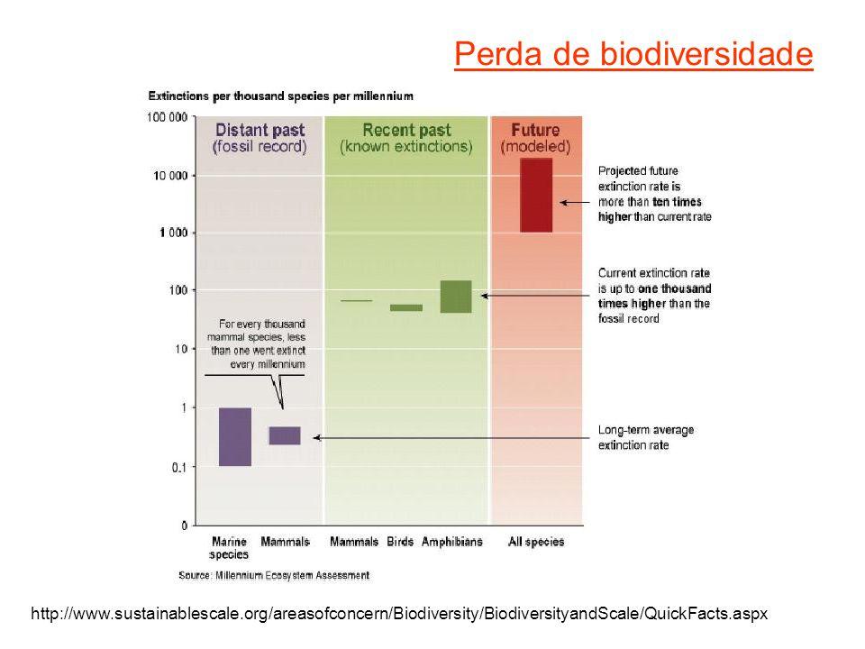 Perda de biodiversidade http://www.sustainablescale.org/areasofconcern/Biodiversity/BiodiversityandScale/QuickFacts.aspx