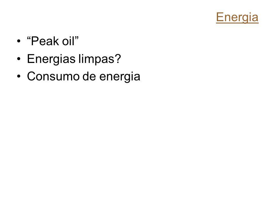 Energia Peak oil Energias limpas? Consumo de energia