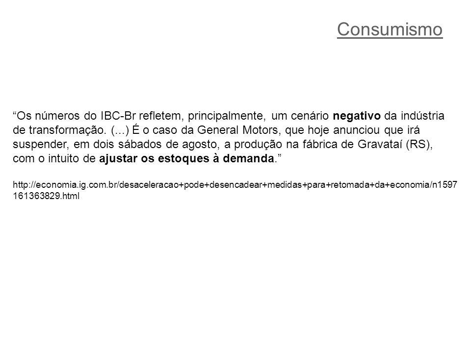 Consumismo Os números do IBC-Br refletem, principalmente, um cenário negativo da indústria de transformação.