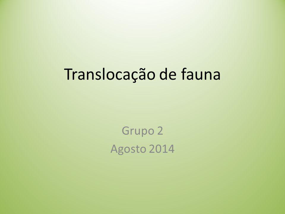 Translocação de fauna Grupo 2 Agosto 2014