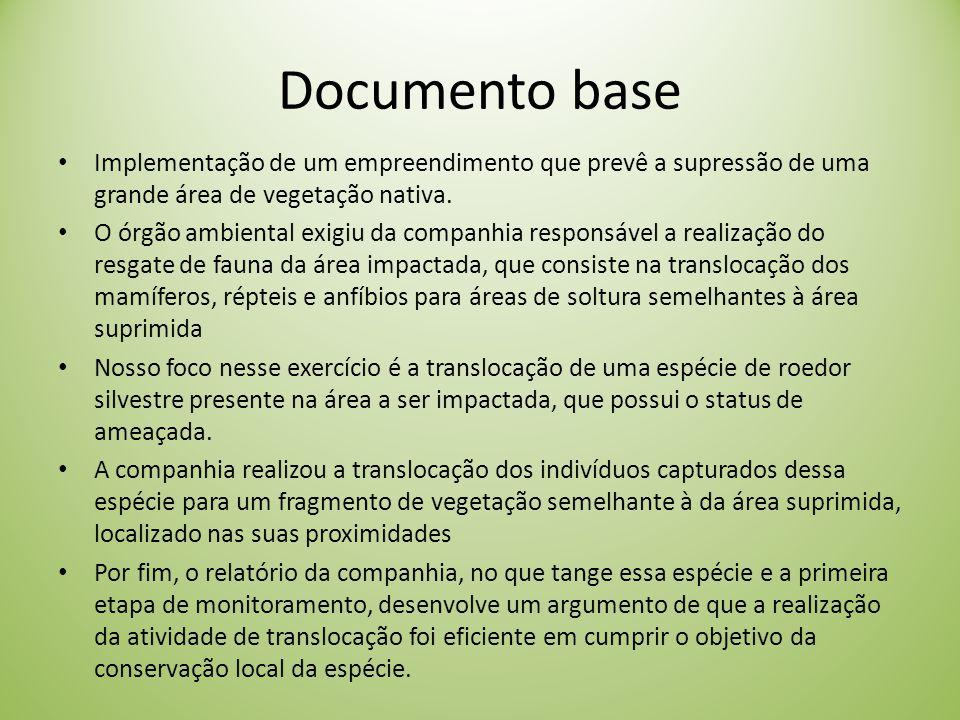 Documento base Implementação de um empreendimento que prevê a supressão de uma grande área de vegetação nativa.