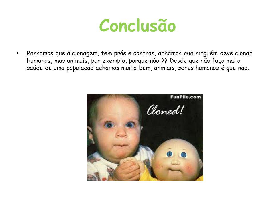 Conclusão Pensamos que a clonagem, tem prós e contras, achamos que ninguém deve clonar humanos, mas animais, por exemplo, porque não ?? Desde que não