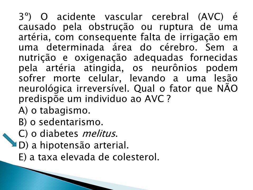 3º) O acidente vascular cerebral (AVC) é causado pela obstrução ou ruptura de uma artéria, com consequente falta de irrigação em uma determinada área do cérebro.