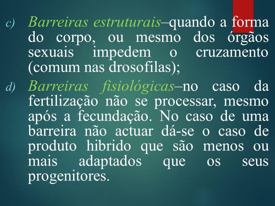 c) Barreiras estruturais–quando a forma do corpo, ou mesmo dos órgãos sexuais impedem o cruzamento (comum nas drosofilas); d) Barreiras fisiológicas–no caso da fertilização não se processar, mesmo após a fecundação.