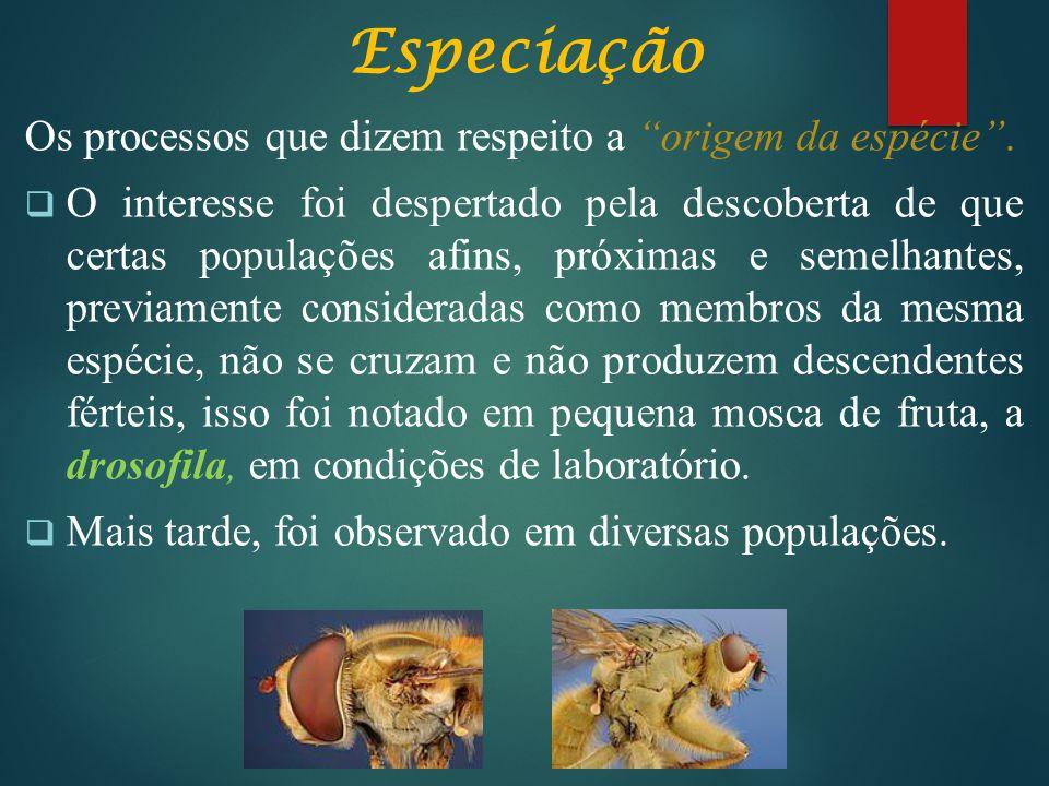 Especiação Os processos que dizem respeito a origem da espécie .
