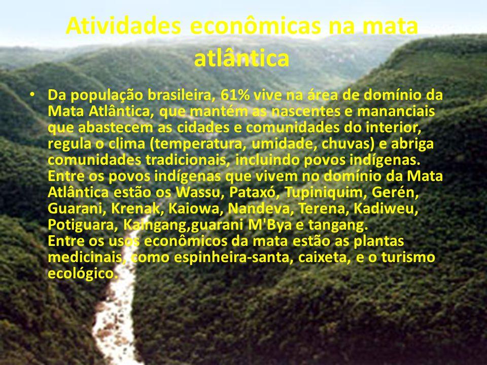 Atividades econômicas na mata atlântica Da população brasileira, 61% vive na área de domínio da Mata Atlântica, que mantém as nascentes e mananciais q