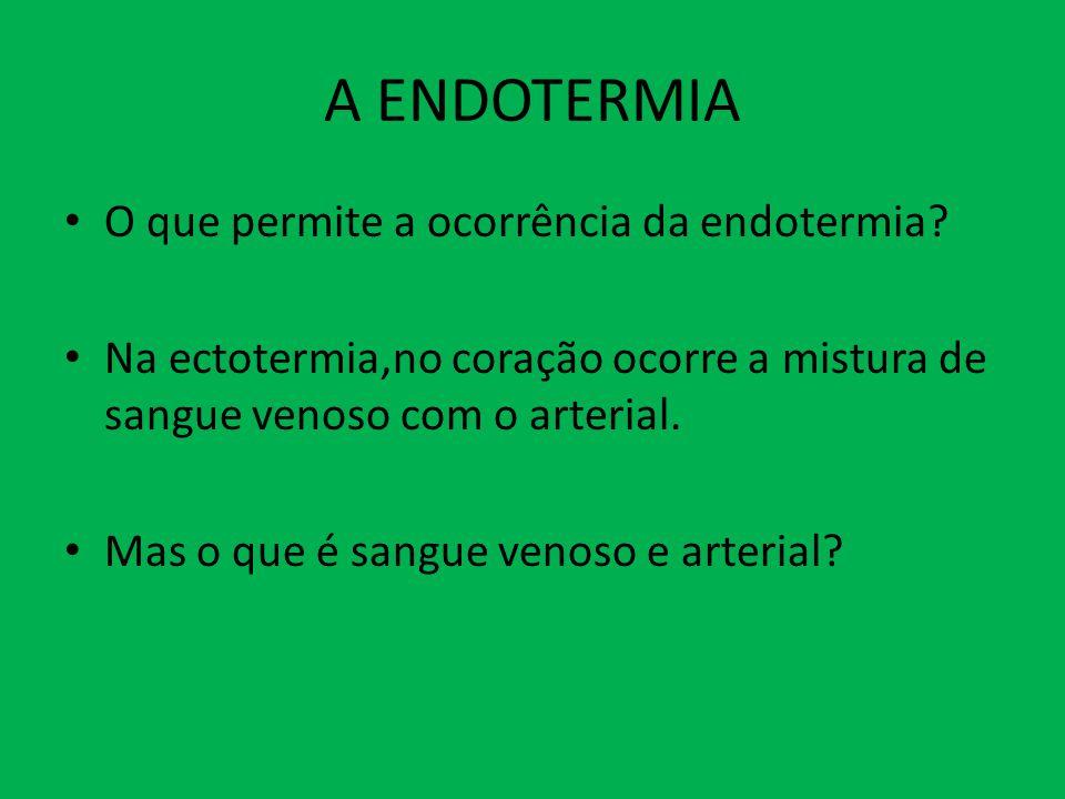 A ENDOTERMIA O que permite a ocorrência da endotermia? Na ectotermia,no coração ocorre a mistura de sangue venoso com o arterial. Mas o que é sangue v