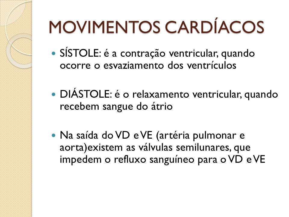 MOVIMENTOS CARDÍACOS SÍSTOLE: é a contração ventricular, quando ocorre o esvaziamento dos ventrículos DIÁSTOLE: é o relaxamento ventricular, quando re