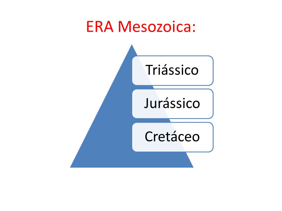 ERA Mesozoica: TriássicoJurássicoCretáceo
